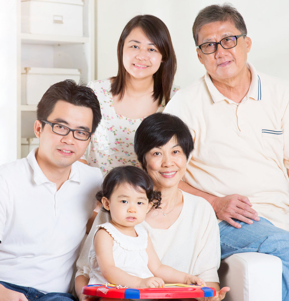 Happy family portrait. Asian multi generations lifestyle at home.